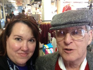 """Me and Dad inside Faneuil Hall, Boston. He's all, """"What's a selfie?"""""""