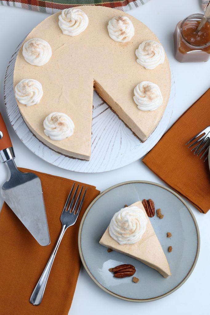 serving of no bake pumpkin cheesecake